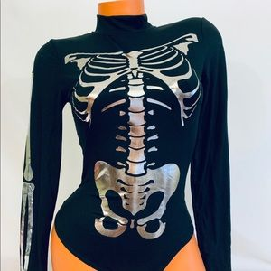 GAZE Halloween Skeleton Bodysuit Metallic Black